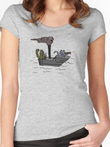 Squirrel on a boat Women's Fitted Scoop T-Shirt