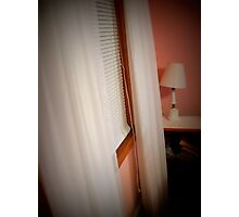 Curtains of white by the Bedstand at night Photographic Print