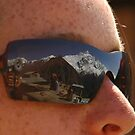 Annapurna II reflected in sunglasses by Stephen Tapply