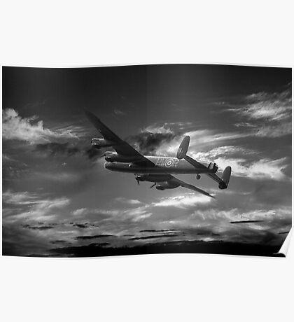 Lancaster Bomber On Night Raid Poster