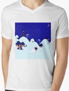 Wonderful winter landscape with bullfinch village Mens V-Neck T-Shirt