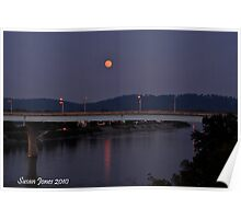 September Harvest moon over Tennessee River Poster