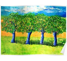 Four Purple Trees Poster