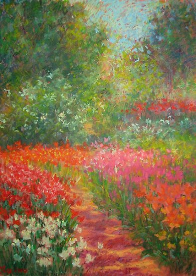 Tulips path by Julia Lesnichy