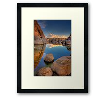 Between a Rock and a Bunch Of Rocks and More Rocks in the Middle, and Some More up Front Framed Print