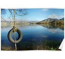 """shoreline swing""   lake benmore, south island, nz Poster"