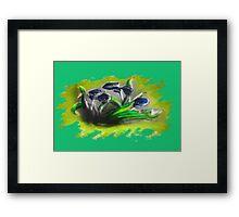 Acrylic Deep Blue Tulips  Framed Print
