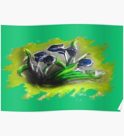 Acrylic Deep Blue Tulips  Poster