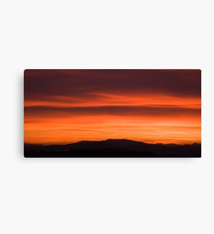 Sunset over Ljubljana suburb Canvas Print