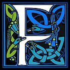 Celtic Peacocks Letter F by Donna Huntriss
