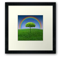 Evergreen Topiary tree with Rainbow over Framed Print