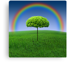 Evergreen Topiary tree with Rainbow over Canvas Print