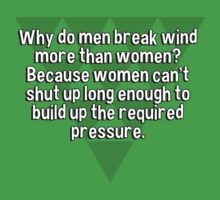 Why do men break wind more than women? Because women can't shut up long enough to build up the required pressure. T-Shirt