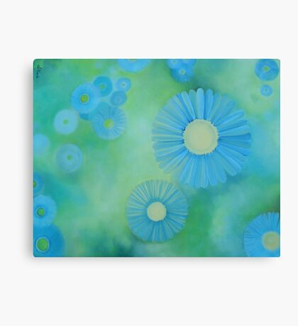 Abstract Blue Daisies on Green Background Canvas Print