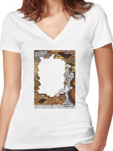wall smash Women's Fitted V-Neck T-Shirt