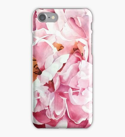 Peony rose in watercolour iPhone Case/Skin
