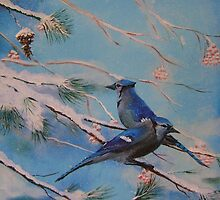 Winter Bluejays by southshoreart