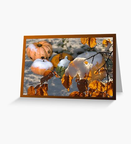 Pumkins in the snow Greeting Card