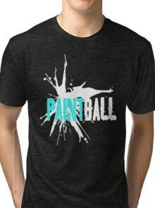 Paintball Teal White Tri-blend T-Shirt
