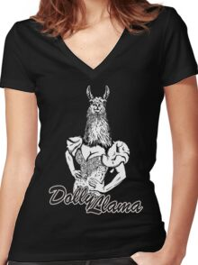 The Dolly Llama Women's Fitted V-Neck T-Shirt