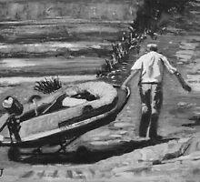 Man Dragging Dinghy. by Antony R James