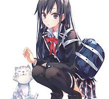 yukinon and cat by waj2000