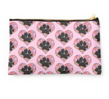 Pawprint in Heart with Pink Flowers Studio Pouch