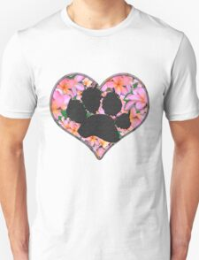 Pawprint in Heart with Pink Flowers Unisex T-Shirt
