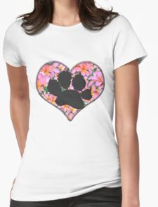 Pawprint in Heart with Pink Flowers T-Shirt