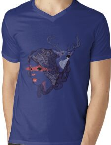 deer girl Mens V-Neck T-Shirt