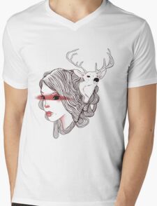 deer girl Mens V-Neck T-Shirt