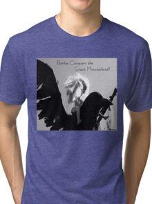 Barbie Conquers the Monsterbird w/ Text Tri-blend T-Shirt