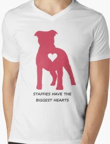 Staffies have the biggest hearts Mens V-Neck T-Shirt