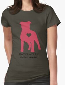 Staffies have the biggest hearts Womens Fitted T-Shirt