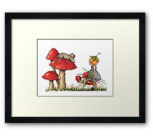 Sleeping Mouse, Toadstool, Girl and Poppies Framed Print