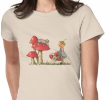 Sleeping Mouse, Toadstool, Girl and Poppies Womens Fitted T-Shirt
