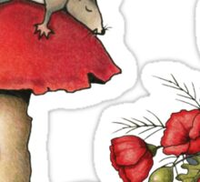 Sleeping Mouse, Toadstool, Girl and Poppies Sticker