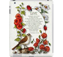 Love Chapter, Bible, Corinthians 13, Love Never Fails iPad Case/Skin