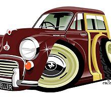 Morris Minor Traveller caricature maroon by car2oonz