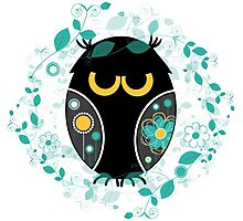 Whimsical Owl Floral Pattern Vector Illustration Photographic Print