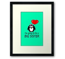Big sister for sibling penguin cartoon geek funny nerd Framed Print