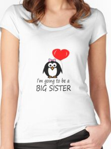 Big sister for sibling penguin cartoon geek funny nerd Women's Fitted Scoop T-Shirt