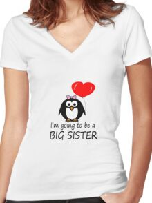 Big sister for sibling penguin cartoon geek funny nerd Women's Fitted V-Neck T-Shirt