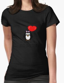 Big sister for sibling penguin cartoon geek funny nerd Womens Fitted T-Shirt