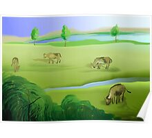 Enjoyment of the cows grazing the pastured lands Poster