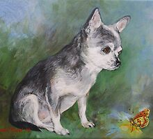 Chihuahua with a butterfly by Julia Prusi
