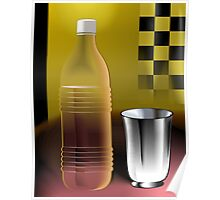 Water bottle and steel glass	 Poster