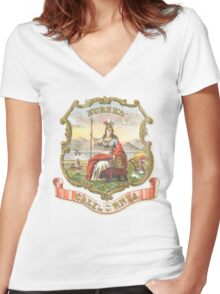 Vintage California State Seal Women's Fitted V-Neck T-Shirt