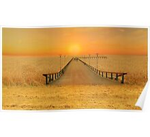 Bridge over the sea of wheat Poster