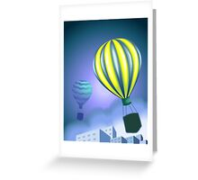 Excitement of the parachutes flying in the sky Greeting Card